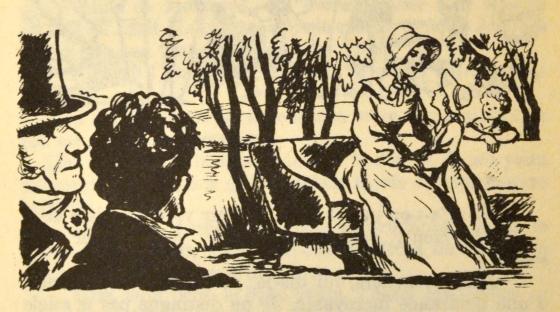 [Henriette et ses enfants observés par le comte de Mortsauf et Félix]