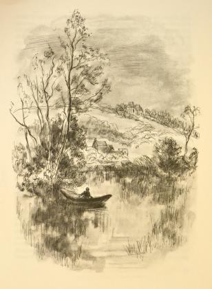 [Barque sur l'Indre, devant le château de Clochegourde]