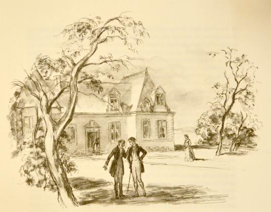 [Félix et le comte de Mortsauf devant le château de Clochegourde (Vonnes)]