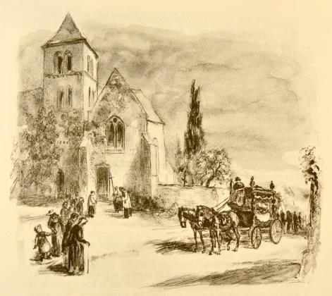 [Le cercueil d'Henriette de Mortsauf devant l'église de Saché]