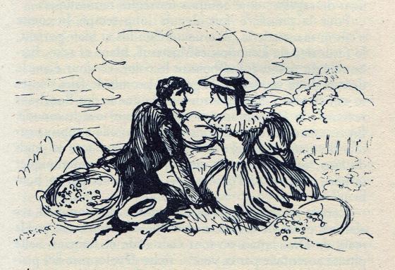 [Félix et Henriette assis au milieu des vignes]