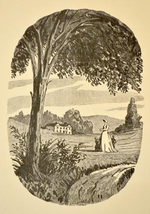 [Henriette de Mortsauf et ses enfants devant le château de Clochegourde]