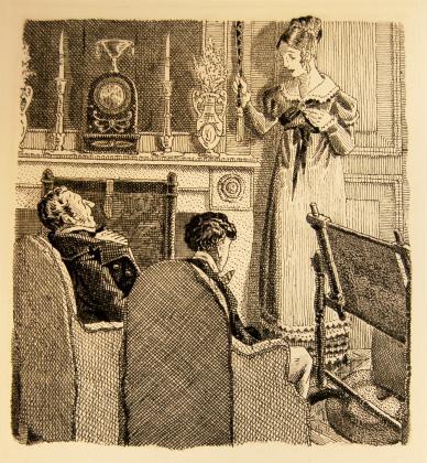 [Félix, Henriette et le comte de Mortsauf dans le salon de Clochegourde]
