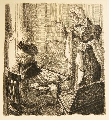 [Henriette assise à sa tapisserie, devant sa mère la duchesse de Lenoncourt]