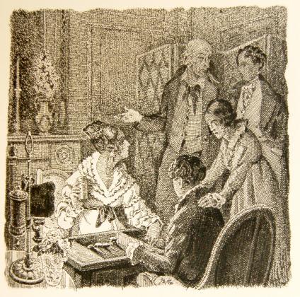 [Félix, Henriette, le comte et les enfants jouant au tric-trac]