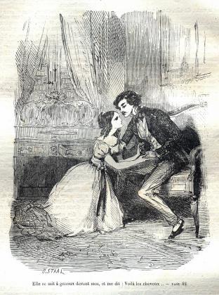 [Henriette de Mortsauf à genoux devant Félix]