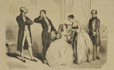 [Adaptation théâtrale du Lys dans la vallée : le comte, Félix, Emmeline et M. de Chessel entourant Henriette]