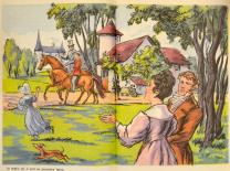 [Le comte donnant une leçon d'équitation à Jacques, devant Félix, Henriette et Madeleine]