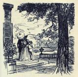 [Félix, Henriette et ses enfants sur le perron de Clochegourde]