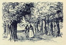 [Félix et Henriette conversant au milieu des arbres]